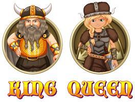 Rei e rainha dos vikings vetor