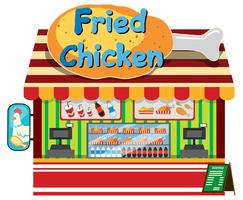 Uma loja de frango frito no fundo branco