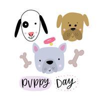 Cães de cabeça cute sorrindo com biscoitos de osso e letras vetor