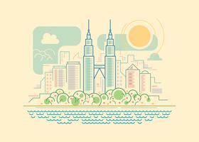 Panorama de Kuala Lumpur vetor