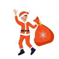 menino bonito com rosto e olhos felizes em traje festivo de Papai Noel ou pai geada com saco de presentes para o Natal, ano novo ou feriado de inverno vetor