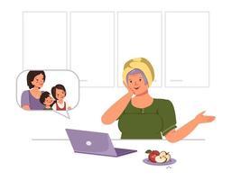 vovó feliz se comunica com sua família e netos no laptop. linda mulher idosa conversando pela tela do computador com parentes vetor