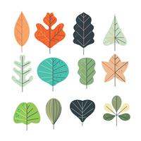 Coleção de folhas simples com estilo escandinavo vetor