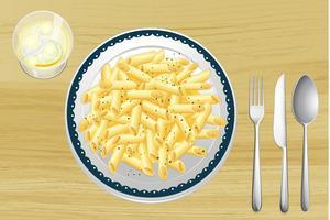 Macarrão e molho branco em um prato