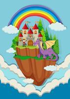 Príncipe e dragão no castelo vetor