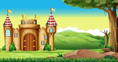 Torres do castelo no campo vetor