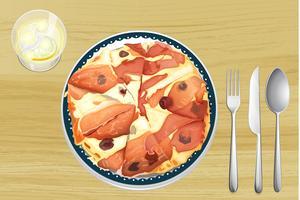 Pizza com presunto vetor