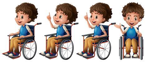 Menino, ligado, cadeira rodas vetor