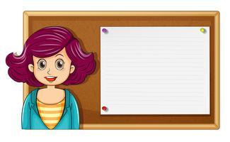 Professor feminino, e, tábua madeira vetor