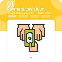 ícone de vetor de mão de pagamento em dinheiro com estilo de cor de linha isolado no fundo branco. ícone fino de elemento de ilustração de gráficos para interface do usuário, interface do usuário, design do site, negócios, logotipo, aplicativos móveis e todos os projetos