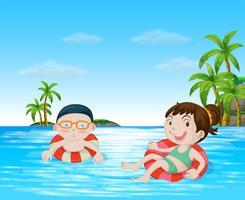 Crianças, natação, em, a, oceânicos vetor