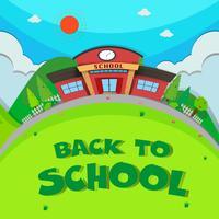 Edifício escolar e o parque vetor