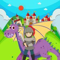 Cavaleiro e dragão no campo vetor