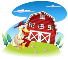 Um pato lendo perto do barnhouse vetor