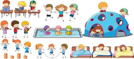 Conjunto de atividade de crianças vetor