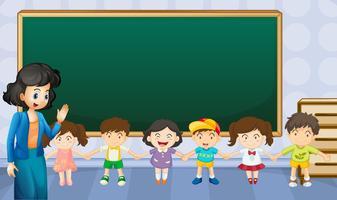Professor e alunos na sala de aula vetor