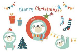 ilustração em vetor natal santa preguiça