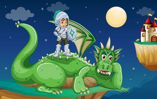 Cavaleiro e dragão vetor
