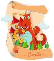 Cavaleiro e dragão no castelo vetor