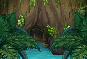 Cena de selva com rio e caverna vetor