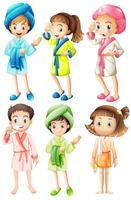 Meninas, em, bathrobe vetor