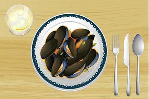 Mexilhão em um prato vetor