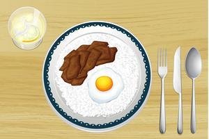 Arroz, ovo e carne de porco