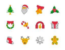 conjunto de ícones coloridos de natal, estilo simples vetor