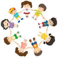 Diversas crianças em um círculo vetor