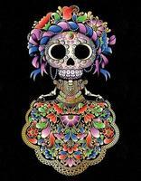 boneca mexicana caveira vetor