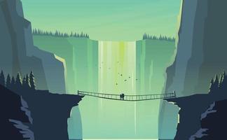 paisagem cachoeira com montanhas viajantes vetor