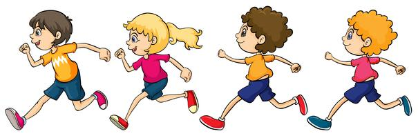 Meninos e menina correndo vetor
