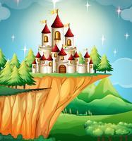 Torres do castelo no penhasco vetor