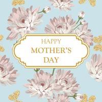 Feliz Dia das Mães. Crisântemos chiques gastos na luz - fundo do verde azul com quadro e texto. Cartão floral, fofo. Vector illustartion