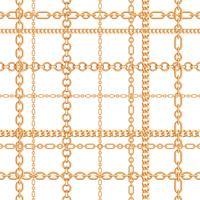 Padrão sem emenda de correntes de ouro. Ilustração vetorial
