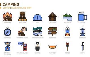 ícone de contorno cheio de acampamento vetor