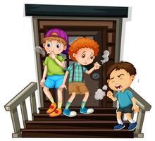 Três meninos, cigarro fumando, ligado, escadas vetor