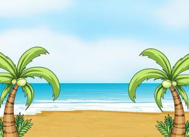 um oceano e uma praia vetor