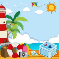 Tema de verão com objetos na praia vetor