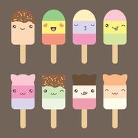 Definir coleção de sorvete de estilo kawaii bonito vetor