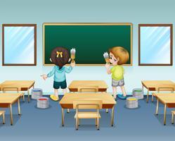 Alunos pintando sua sala de aula vetor