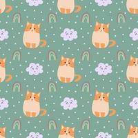 adorável gato fofo padrão sem emenda vetor