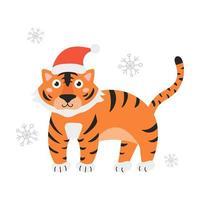 símbolo do ano é tigre com chapéu de Papai Noel em fundo branco com flocos de neve. ilustração vetorial em estilo cartoon plana vetor