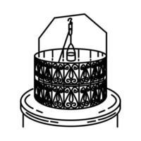 ícone do poço zamzam. doodle desenhado à mão ou estilo de ícone de contorno vetor
