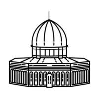 ícone da mesquita de al aqsa. doodle desenhado à mão ou estilo de ícone de contorno vetor
