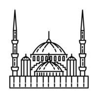 ícone de mesquita azul de Istambul. doodle desenhado à mão ou estilo de ícone de contorno vetor