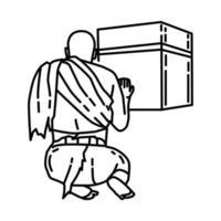 ícone do hajj. doodle desenhado à mão ou estilo de ícone de contorno vetor