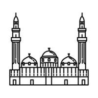 Mesquita Quba em ícone de Medina. doodle desenhado à mão ou estilo de ícone de contorno vetor