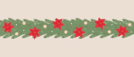 guirlanda de natal de ano novo com poinsétia e guirlanda para decoração, cartão postal, convite vetor