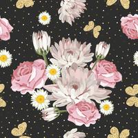 Teste padrão floral sem costura com borboletas brilhantes